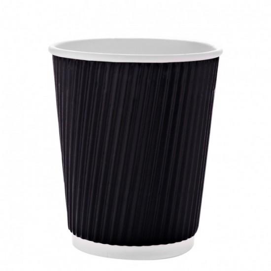 أكواب ورقية مموجة أسود مع الغطاء - (25 كوب في مغلف)