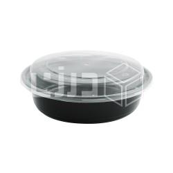 وعاء مايكروويف أسود دائري بغطاء شفاف - 450 مل