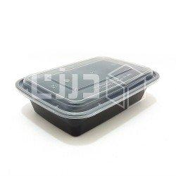 وعاء مايكروويف أسود بغطاء شفاف - مستطيل