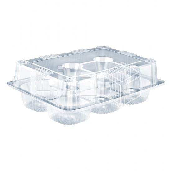 وعاء شفاف بغطاء متصل - 6 كوب كيك (شدة 10 حبات)