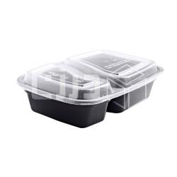 وعاء مايكروويف أسود بغطاء شفاف - مستطيل - قسمين