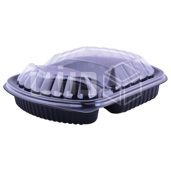 وعاء مايكروويف أسود بغطاء شفاف - قسمين (50 حبة بالشدة)