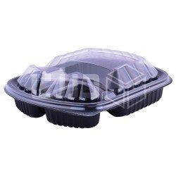وعاء مايكروويف أسود بغطاء شفاف - 3 أقسام