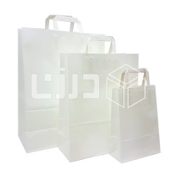 أكياس ورقية بحامل - أبيض - مقاسات متعدده
