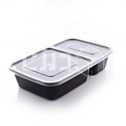 وعاء مايكروويف أسود بغطاء شفاف -مستطيل2 - قسمين