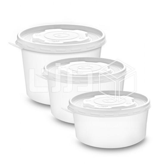 زبدية ورقية مع الغطاء - أبيض - مقاسات متعددة (25 زبدية بالشدة )