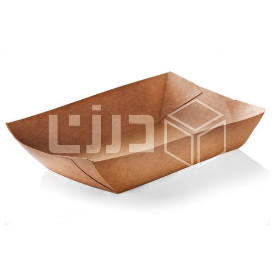 صحن ورق مستطيل - بني - مقاسات متعدده