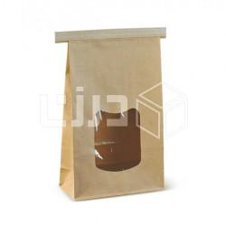 أكياس ورقية بني بنافذة شفافة